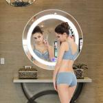 Bathroom LED Strip Mirror For Hotel Touch Switch Oval Wall Mirror
