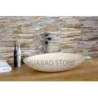 Custom Unusual Stone Sink Basin , Freestanding Bathroom Sink Shallow Oval Design