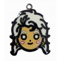 Beauty Cartoon girl face charms, metal iron imitation jewelry Custom Hang Tags