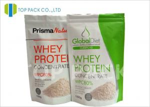 China White Finished Aluminum foil pouch packaging , Stand Up Ziplock bag Protein Powder on sale