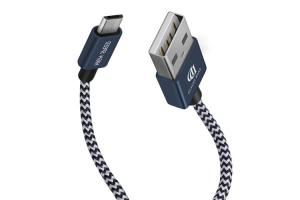 China Blue Aluminum Alloy Micro USB Data Cable USB 2.0 100cm / 20cm For Fast Charging on sale