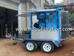 Mobile Car Wheels Trailer Type Transformer Oil Purification Equipment, Oil Purifier with double vacuum chamber