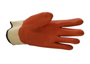China Winter Orange PVC Gloves 100% Cotton / Jersey Lining For Extra Comfort on sale