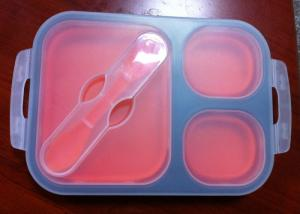 China Food Grade Big Eco Silicone Collapsible Lunch Box For Kids With Customized Logo on sale