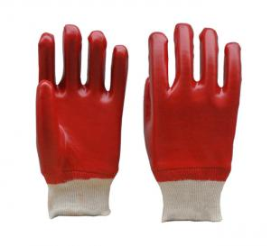 China Fully Coated PVC Gloves, Smooth Finish, Knit Wrist on sale