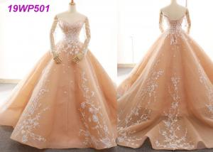 China Bright Nude Multi Colored Wedding Gowns With Petticoats And Lace Long Sleeves on sale