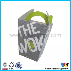 China Rectangle Square Logo Printed Take Away Party Food Packaging Boxes With Handle on sale