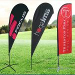 Advertising custom double side printing 100% Fiberglass wind blade feather flag with Ground Spike