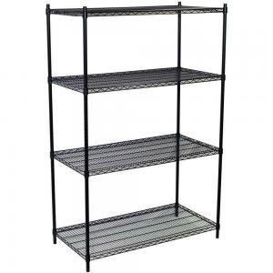 China Grocery Store Heavy Duty Commercial Wire Shelving 4 Layers Black Epoxy Surface Finish on sale