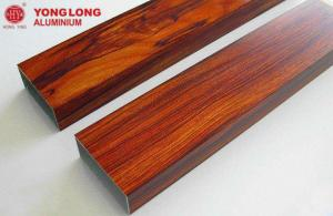 China Wood Grain Aluminium Profiles With Vacuum Wood Texture Transfer Technology on sale