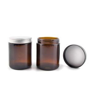 China 1 - 8 Oz Amber Glass Jars , Round Amber Glass Cosmetic Jars With Metal / Plastic Caps on sale