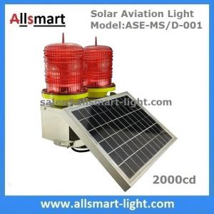 China 2000cd Red Solar Aviation Obstruction Light Double Head Warning Light for Communication Lattice Tower High Building on sale