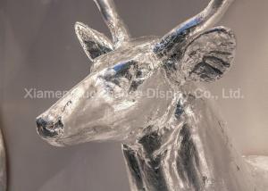China Wall Mounting Shop Display Christmas Decorations Fiberglass Deer Head Silver Color on sale