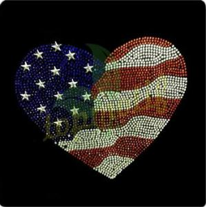 China Custom Design Hot Fix Crystal Transfer America Flag Iron on Heart on sale