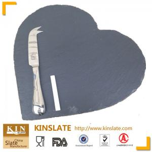 China Various shapes and sizes natural slate stone cheese board series HEART black plates on sale