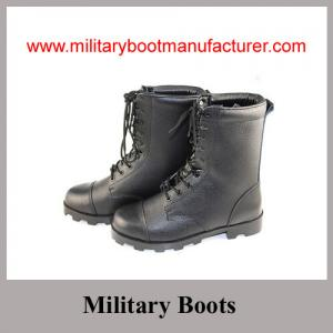 China Wholesale China Made Black Genuine Leather Military Combat Boot with Panama Outsole supplier