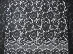 Black Nylon Corded Lace Fabric Floral Knitted Shrink-Resistant