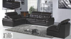China L.P6613J-Black Leather Sectional Sofa 123 on sale