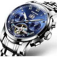 Wholesale Men Full automatic mechanical  stainless steel blue flywheel watch With Month Week Date display JYD-J014