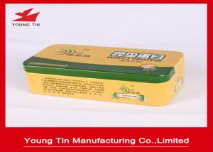 China Silver Empty Rectangle Printed Tin Boxes 0.23mm Steel Metal Tinplate Food Packing on sale