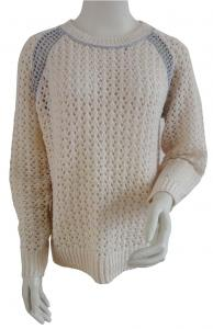 China Customized Pointelle Raglan Jumper Pullover Fashion Sweaters With Metallic Yarns Details on sale