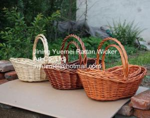 China willow picnic basket wicker food basket with handle willow bread basket on sale