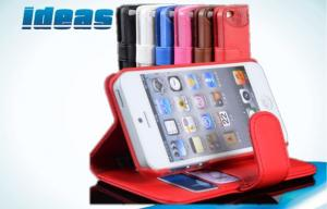 China Hybrid Wallet PU Apple iPhone Leather Case Covers for iPhone 5 , Red on sale
