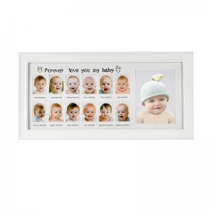 China Wooden baby first year photo frame for DIY handprint and footprint molduras para fotos on sale