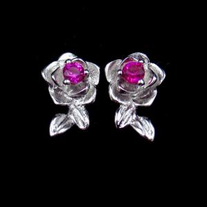 China Shape Gold Silver Cubic Zirconia Earrings Silver 925 Red Flower Gemstone Stud on sale