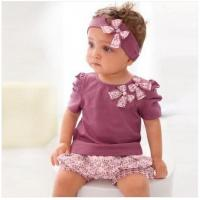 Baby Clothes cotton Baby Clothing Set beautiful kids cute outfit baby wear headband pants