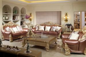 China Luxury Sofa sets by Beech wood craft design in golden color painting and Imported Italy Leather for Villa living rooms on sale