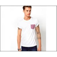 mens blank white tee shirt with printed Pocket  oem logo service