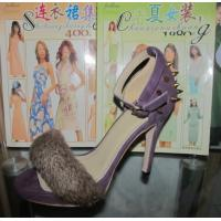 2014 Fashion sexy High heel sandal with rivets & fur accessories, lady elegant party shoes
