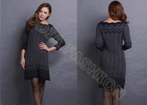China Fashion Ruffled Collar Stripes Womens Pullover Sweaters Long Dress Narrow Waist in Black on sale