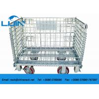 Zinc Finish Wire Mesh Cages With Foot Brakes / Castors Rigid Rolling Metal