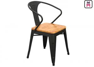Groovy Tolix Arm Metal Restaurant Chairs Wood Seats Commercial Theyellowbook Wood Chair Design Ideas Theyellowbookinfo