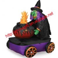 China 1.8M Halloween Inflatable Witch with Cauldron on sale
