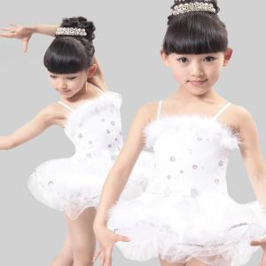 China girl's feather and sequins performance stage dance costume dress on sale