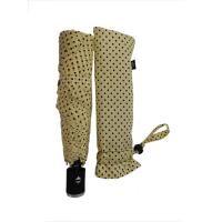 Cream Color 3 Section Automatic Open And Close Compact Umbrella 6 Panels