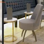 Fabric Upholstery Natural Ash Wood Round Dining Table And Chairs For Club