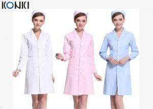 China Short Sleeve White / Pink Nurse Uniform Dress With Long Style Coat on sale