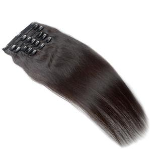 China Natural Black Color Remy Clip In Hair Extensions 100% Virgin Hair With 6 Pieces on sale