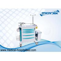 ABS Hospital Emergency Trolley With I . V . Pole , Medical Crash Cart With Handles To Move