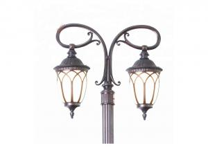 China Garden Landscape Cast Iron Lamp Post Two Arm For Street Decoration on sale