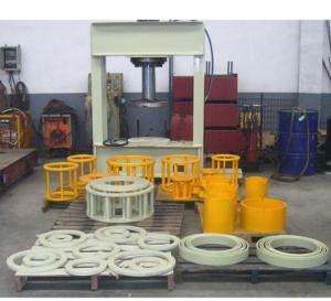China Hydraulic Forklift White Color Solid Tire Press Machine 80 - 200 Ton Customized Size on sale