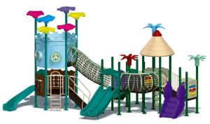 China non-toxic outdoor plastic playgrounds double slide for kids on sale