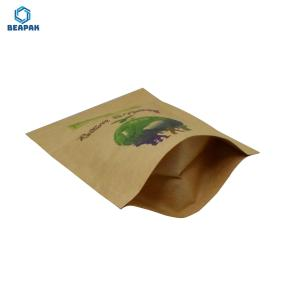 China Zipper Compostable Paper 150gsm Biodegradable Kraft Bags on sale