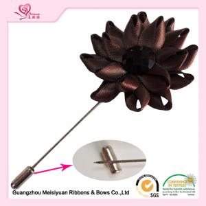 ... Quality Satin Ribbon diy Flower Lapel Pin boutonniere For Formal Occasion various color for sale