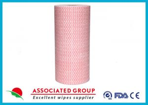 China Wavy Printing Spunlace Non Woven Roll 65GSM Household & Vehicles Cleaning Wipes on sale