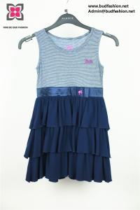China Wholesale Custom Kid Girl Viscose Polyester Jersey Sleeveless Pleated Dress on sale